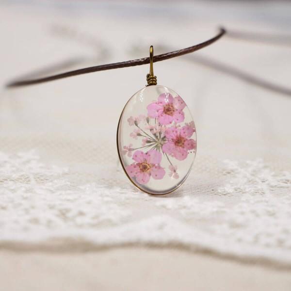 Leder Kette Kirschblüte in Glaskugel - oval - Rosa