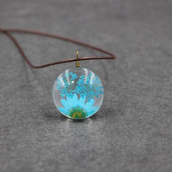Leder Kette echte Blume in flacher Glaskugel - Blau