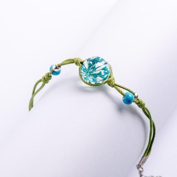 Armband grün Perlen mit Blume - Blau
