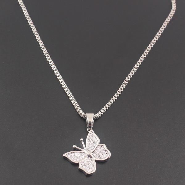 Silber Kette Schmetterlinge Glitzer