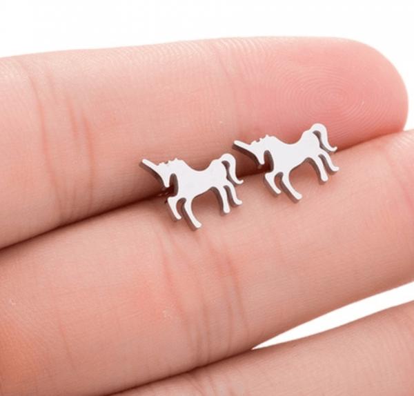 Ohrstecker Einhorn minimalistisch - Silber