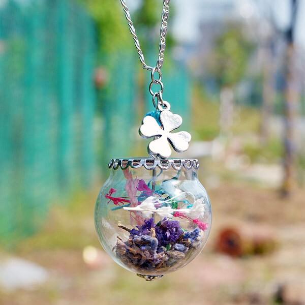 Silber Kette Lavendel in Glaskugel - Kleeblatt