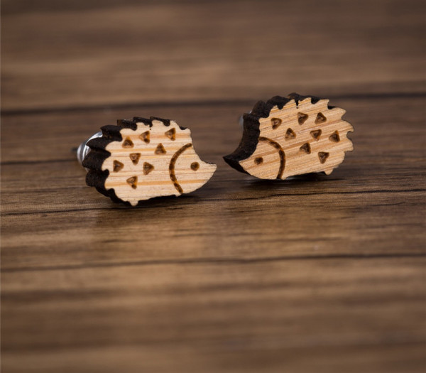 Ohrstecker aus Holz - Igel