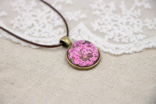 Leder Kette Blume in halber Glaskugel - Pink