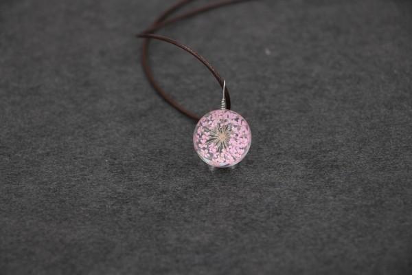 Leder Kette Blume in runder Glaskugel - Rosa
