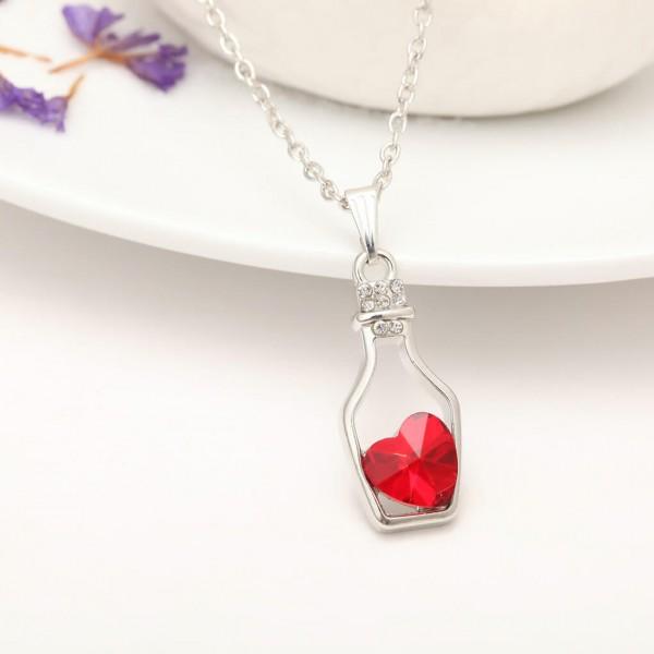Silber Kette Herz in Flasche - Rot