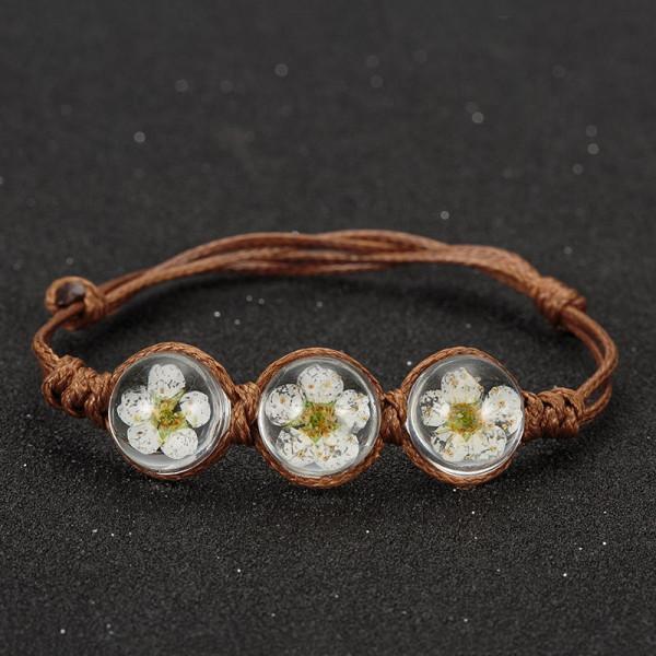 Armband braun, 3 echte Kirschblüten - Weiss