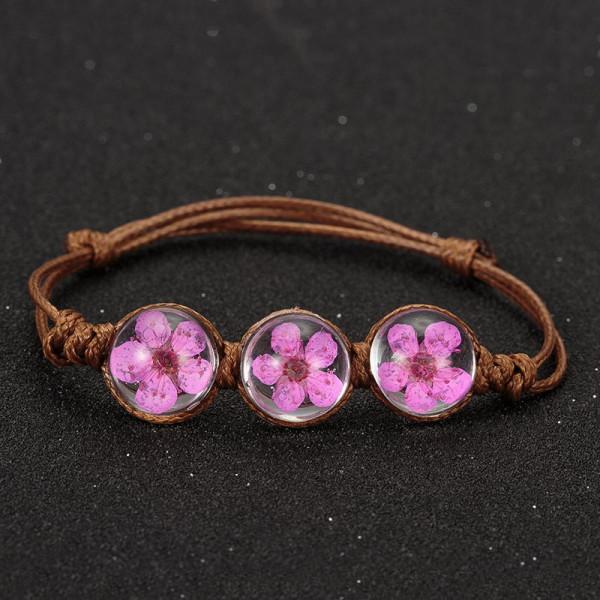 Armband braun, 3 echte Kirschblüten - Pink