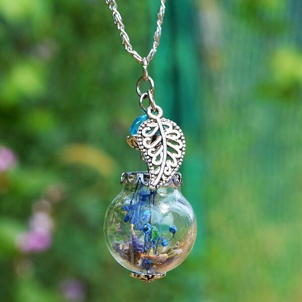 Silber Kette Lavendel in Glaskugel - Blatt