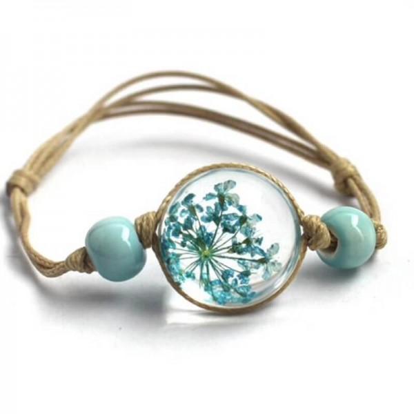 Armband echte Blüte - Türkis