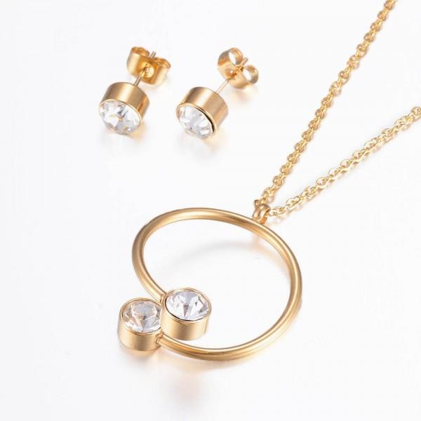 Set Halskette & Ohrstecker Steine - Gold