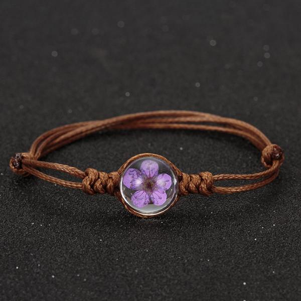 Armband braun, echte Kirschblüte - Lila